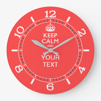 Personalized KEEP CALM your text Pink Coral Dial Large Clock