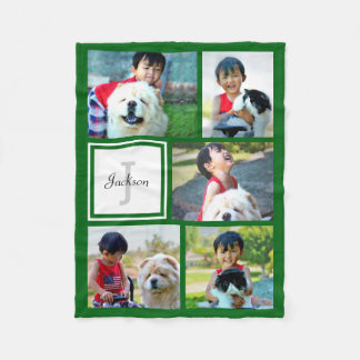 Personalized Kelly Green Photo Collage Monogrammed Fleece Blanket