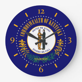 Personalized Kentucky State Flag Design on Wall Clocks
