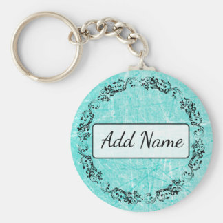 Personalized Key Chain Simple Black and Teal