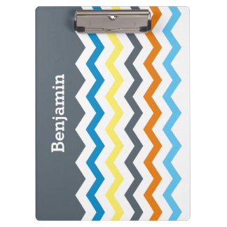 Personalized Kids Chevron Gray Blue Orange Yellow Clipboard