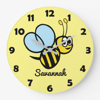 Personalized Kids Cute Bee Yellow Bumblebee Large Clock