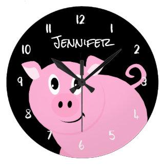 Personalized Kids Cute Pink Pig Farm Animal Wall Clocks