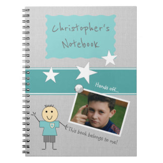 Personalized Kids Gray Photo Spiral Notebook