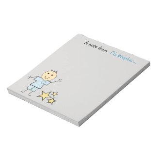 Personalized Kids little stick boy gray Notepad