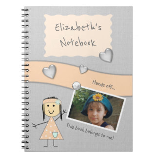Personalized Kids Peach and gray Photo Spiral Notebook