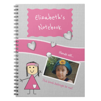 Personalized Kids Pink and gray Photo Notebook