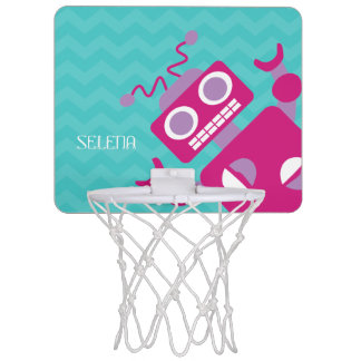 Personalized Kids Pink Orange Robot Teal Chevron Mini Basketball Hoop