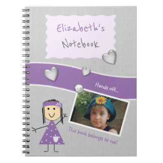 Personalized Kids Purple and gray Photo Spiral Notebook