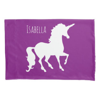 Personalized Kids Purple Pink Unicorn Silhouette Pillowcase