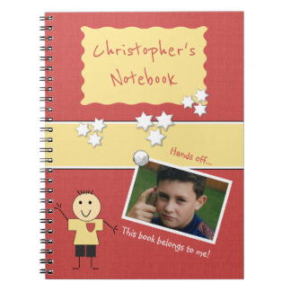 Personalized Kids Red Photo Notebooks