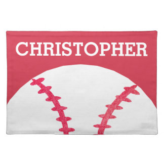 Personalized Kids Red White Baseball Sports Placemat