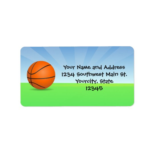 Personalized Kid's Sports Basketball Sunny Day Label