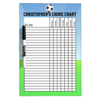 Personalized Kid's Sports Soccer Ball Chore Chart Dry Erase Board