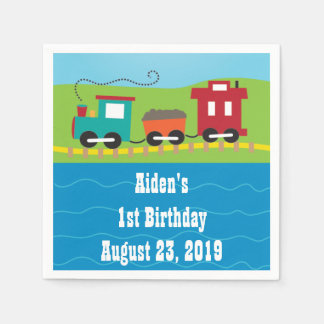 Personalized Kids Train Birthday Napkins Disposable Napkins