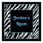 Personalized Kids Wall Decor - Zebra and Blue Poster