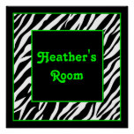 Personalized Kids Wall Decor - Zebra & Lime Green Posters