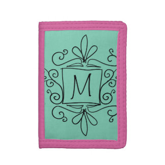 Personalized kids wallet with cute swirly monogram