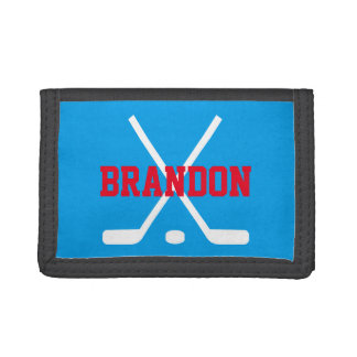 Personalized kids wallet with ice hockey sticks