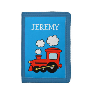 Personalized kids wallet with red choo choo train