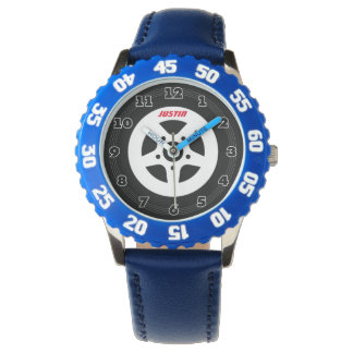 Personalized kids watch with auto racing car tire