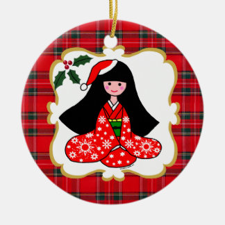 Personalized Kimono Girl Christmas Cartoon Ceramic Ornament