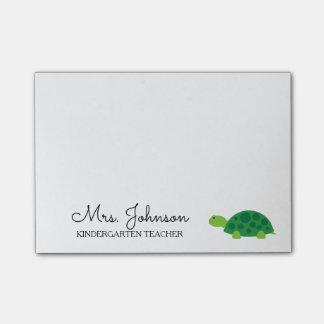 Personalized kindergarten school teacher turtle post-it notes