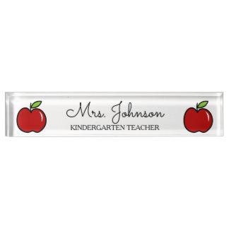 Personalized kindergarten teacher red apple icon nameplate