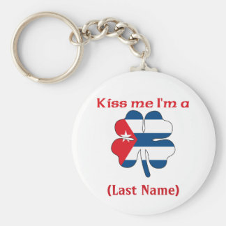 Personalized Kiss Me I'm Cuban, (Last Name) Keychain