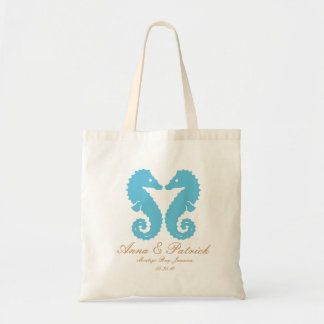 Personalized Kissing Seahorses-Destination Wedding Tote Bag