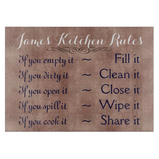 Personalized Kitchen Rules Cutting Board