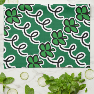 Personalized kitchen towel with lucky irish clover