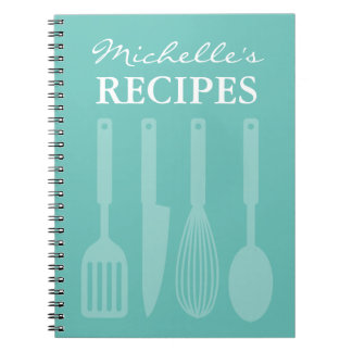 Personalized kitchen utensils recipe book notebook
