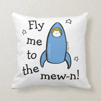 Personalized Kitty Cat Space Rocket Adventures. Throw Pillow