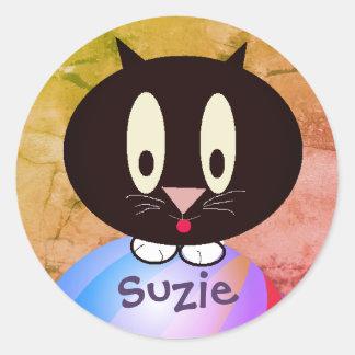 Personalized Kitty Classic Round Sticker