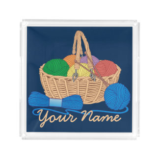 Personalized Knitting Colorful Yarn Basket Acrylic Tray