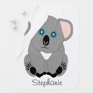 Personalized Koala Bear Design Baby Blanket