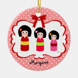 Personalized Kokeshi Sisters Polka Dot Ceramic Ornament