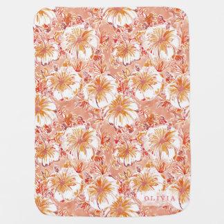 Personalized KOMBUCHA-CHA Peach Tropical Hibiscus Receiving Blanket