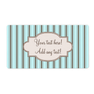 Personalized Label Elegant Stripes Blue Brown Shipping Label