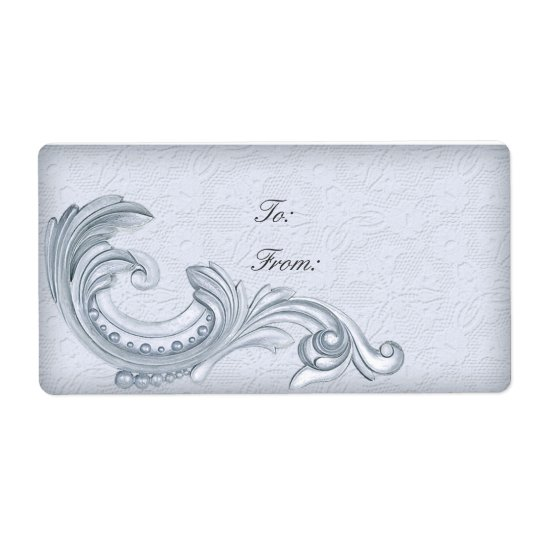 Personalized Labels Vintage Lace Decorative Silver