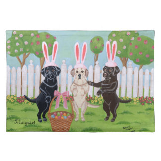 Personalized Labrador Easter Bunnies!! Placemat