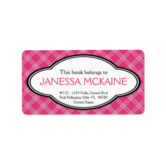 Personalized Ladies Bookplate Sticker Pink White