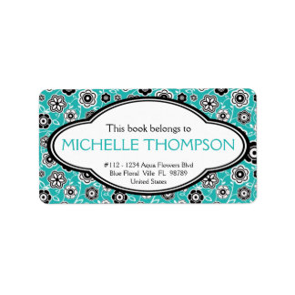 Personalized Ladies Doodle Flowers Bookplate Aqua Label