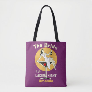 Personalized ladies night tote bag