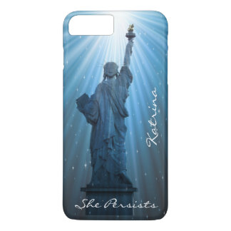 Personalized Lady Liberty in Rays of Sun iPhone 7 Plus Case