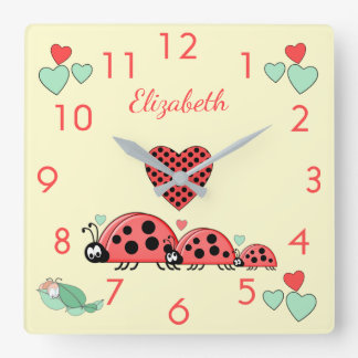 Personalized Ladybirds Caterpillar nursery decor Square Wall Clock