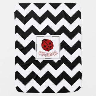 Personalized Ladybug And Chevron Baby Blanket