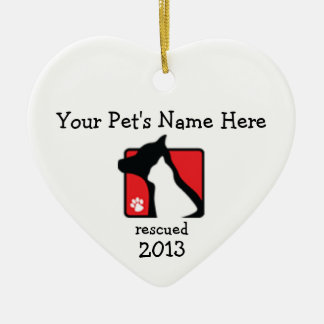 Personalized Lakeshore PAWS heart ornament