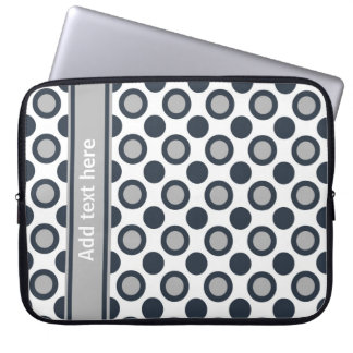 Personalized Laptop Sleeve:Black Silver Polka Dots Laptop Computer Sleeves